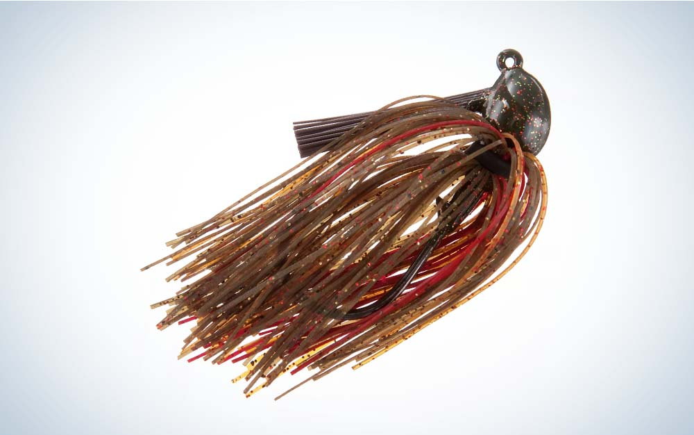 A red and brown Strike King Hack Attack Jig
