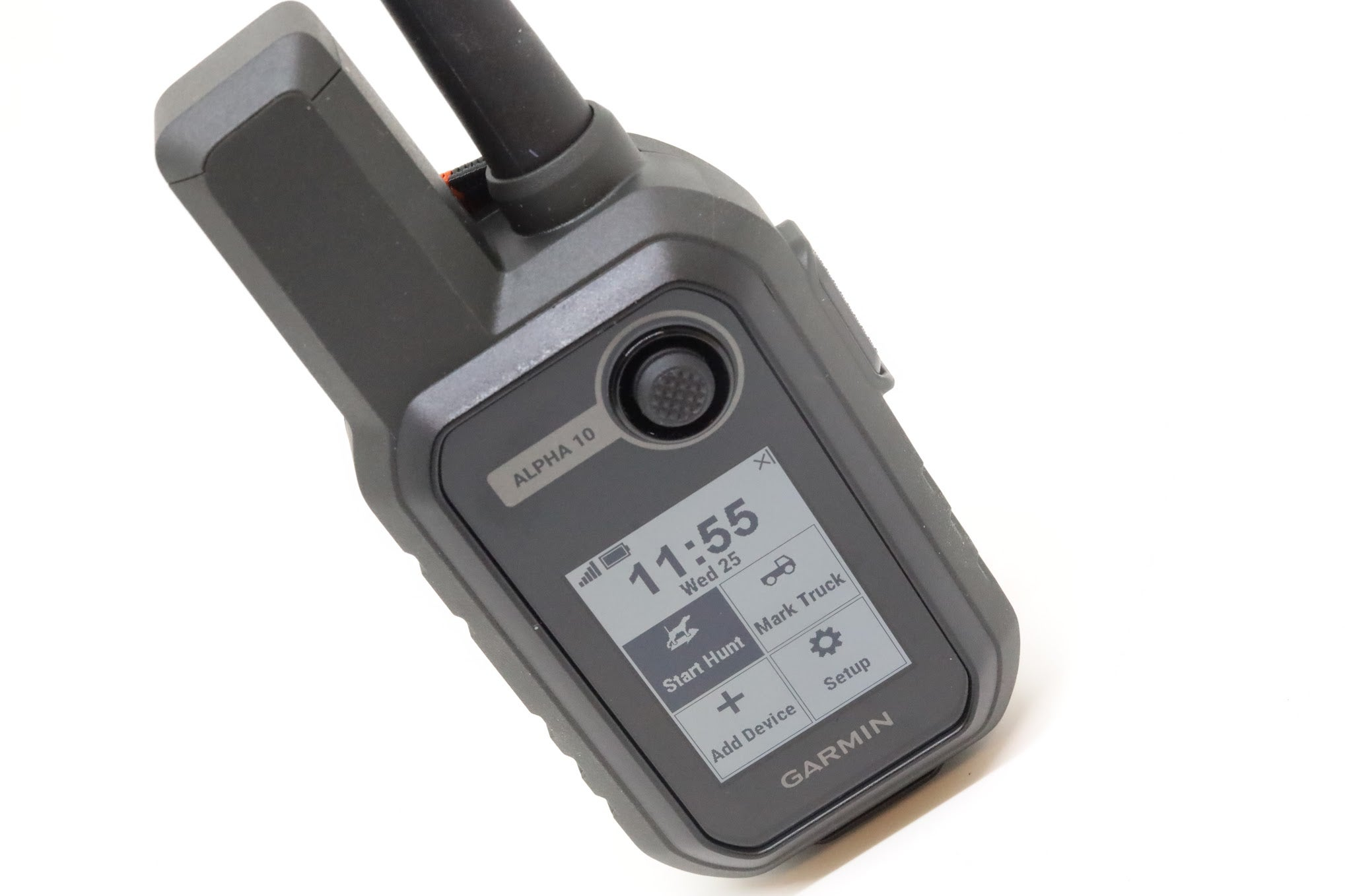 The Garmin Alpha 10 handheld device on a white background