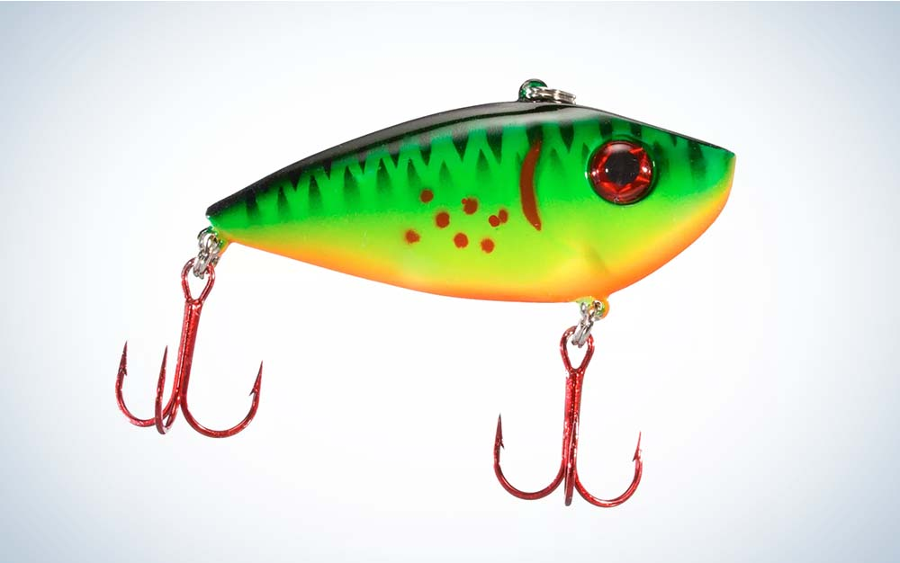 A green and red Strike King Red Eye lure