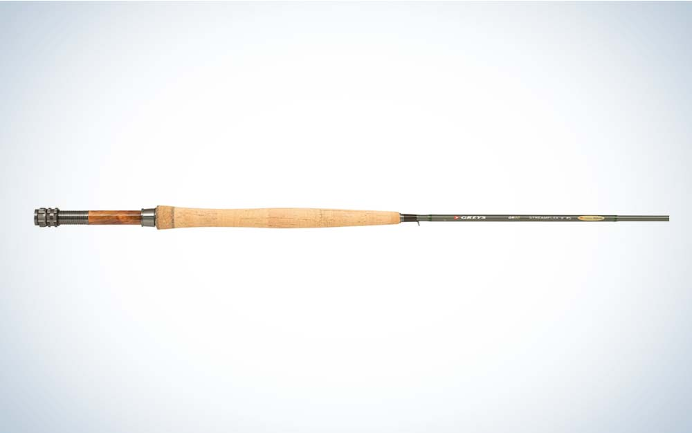 A black Greys GR80 fishing rod with a cork handle