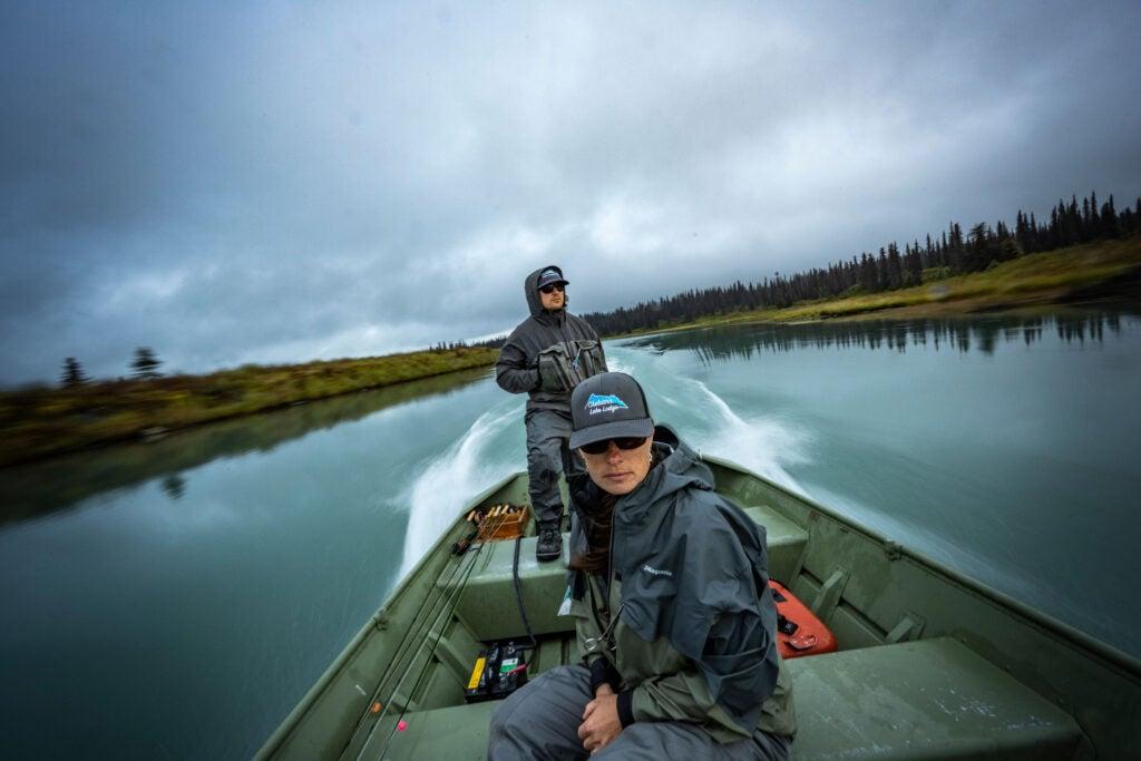 Jet boat fishing on a river in Alaska.