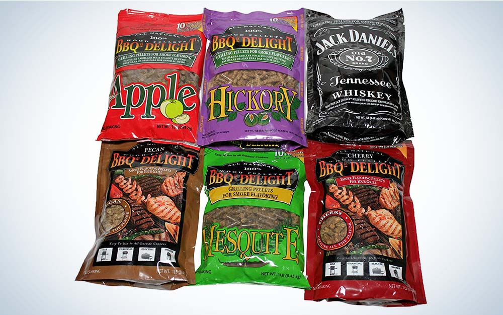 Six bags of assorted BBQr's Delight Wood Smoking Pellets
