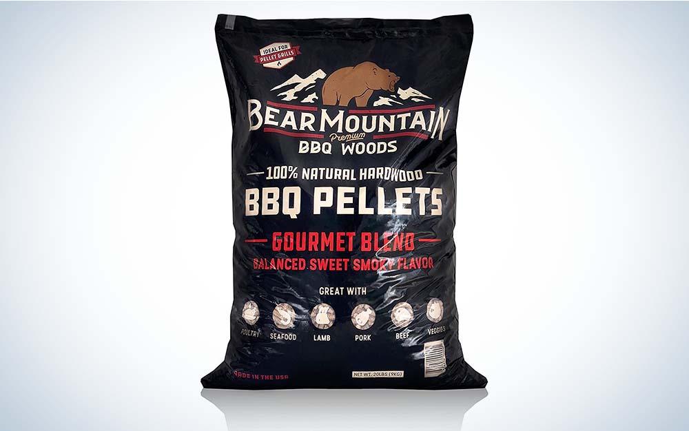 A bag of Bear Mountain BBQ pellets