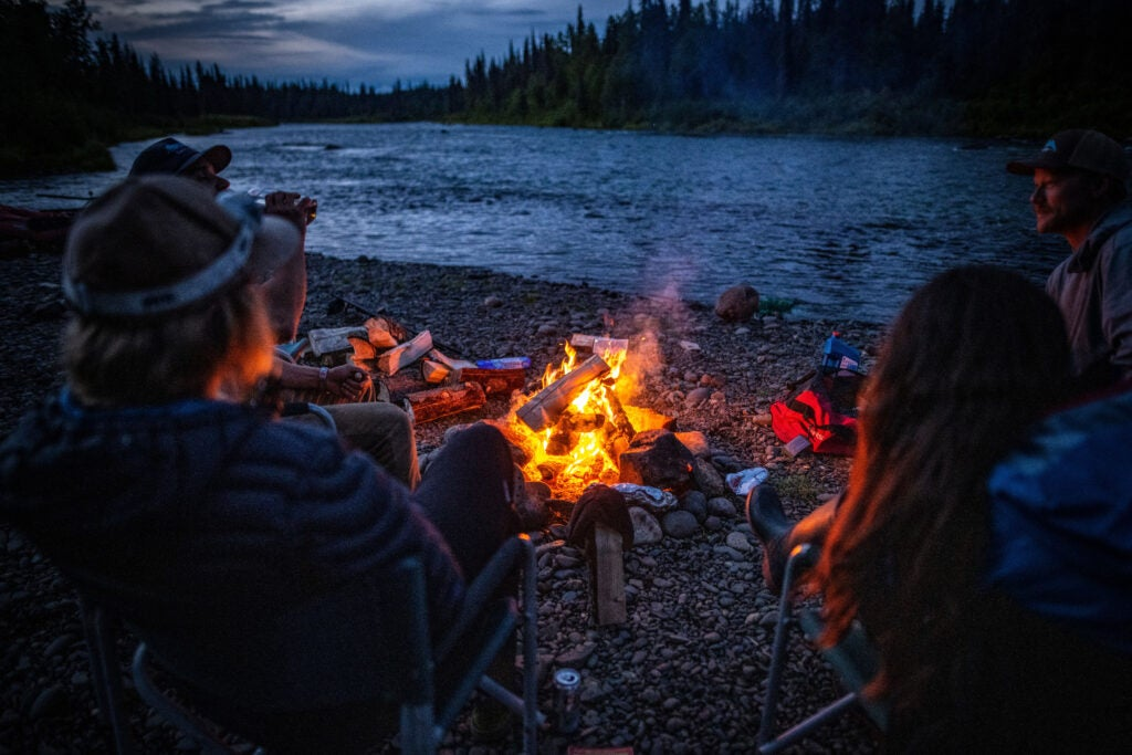 A campfire during a rafting trip in Alaska.