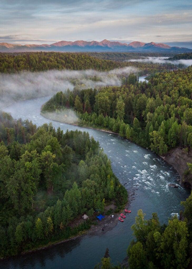 Lake Creek river in Alaska, from above.