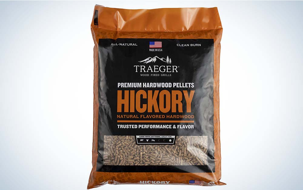 A bag of Traeger Hickory BBQ pellets