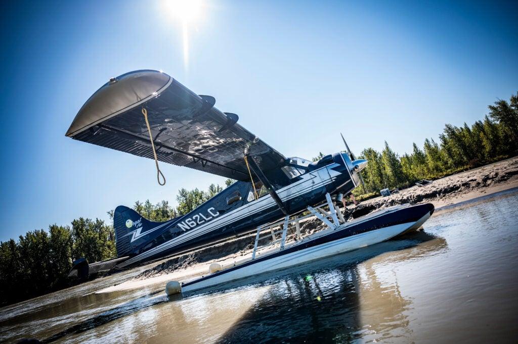 A float plane on Lake Creek river in Alaska.
