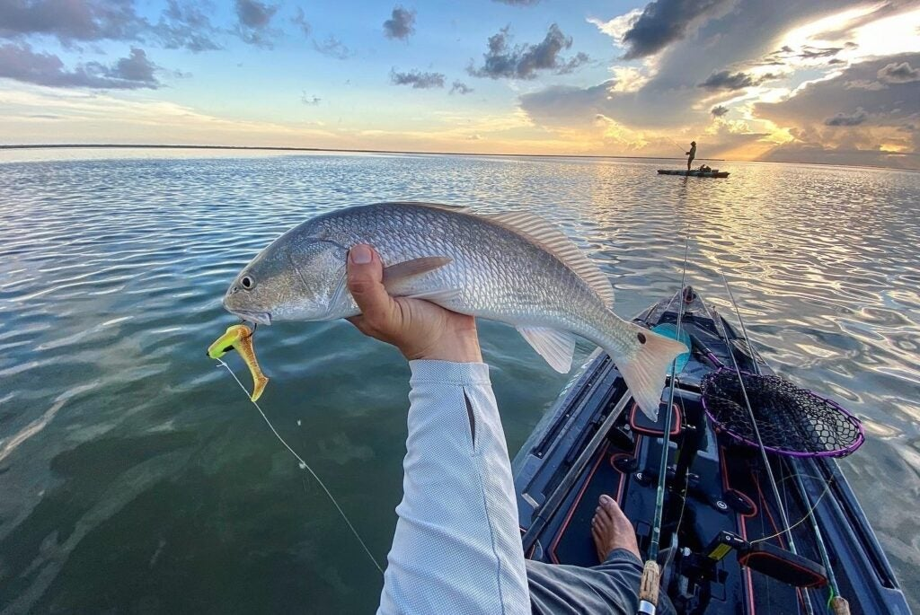 A person holding a fish out toward the sunset over a body of water