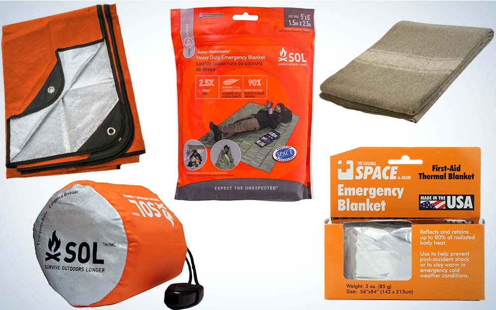 A collage of five emergency blankets