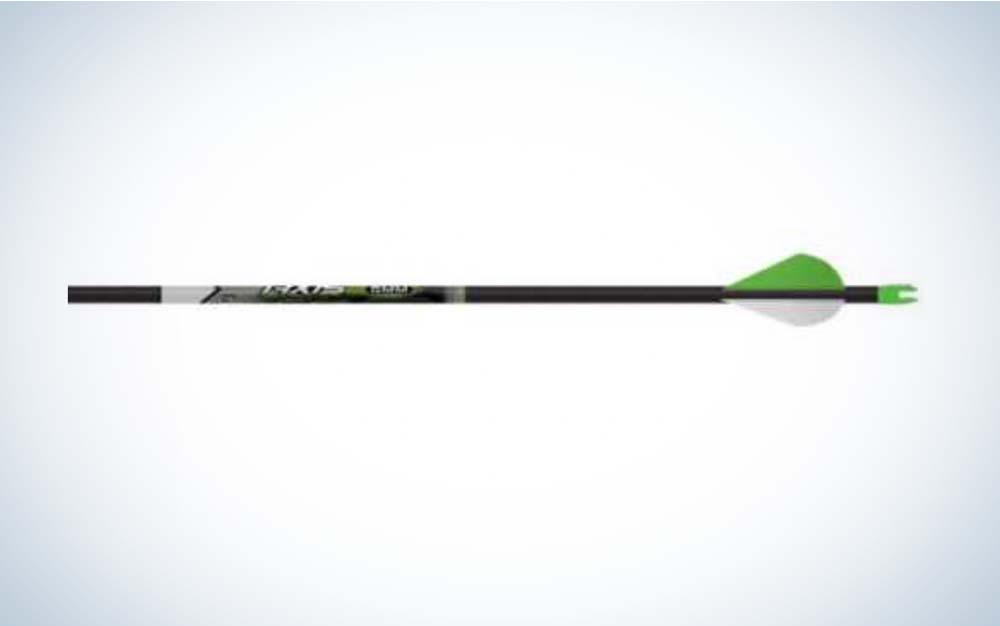A black and green Easton Axis arrow