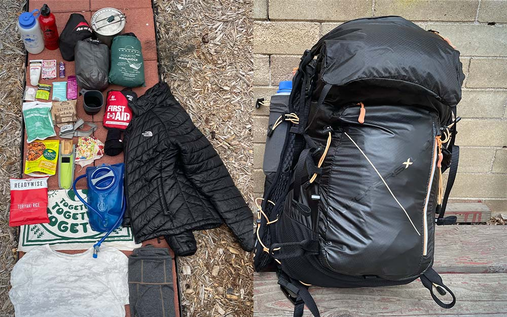 A diptych. On the left, a pile of backpacking gear. On the right, a black backpack containing all of the gear on the left.