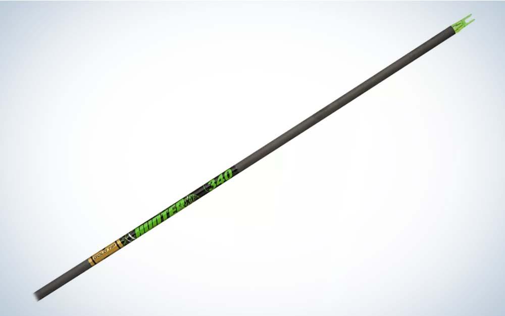 A black and green Gold Tip XT arrow