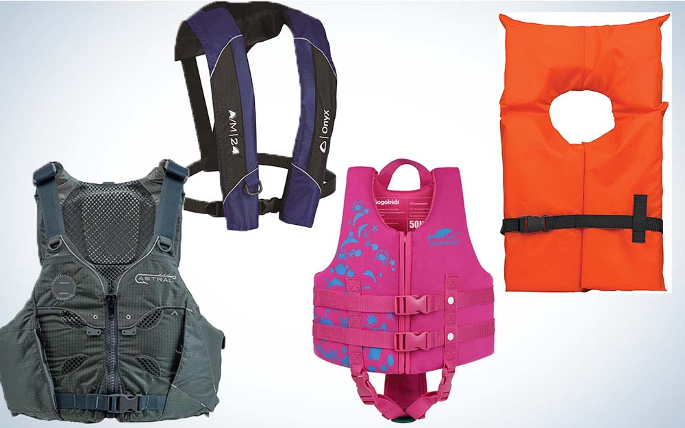 A collage of four life vests