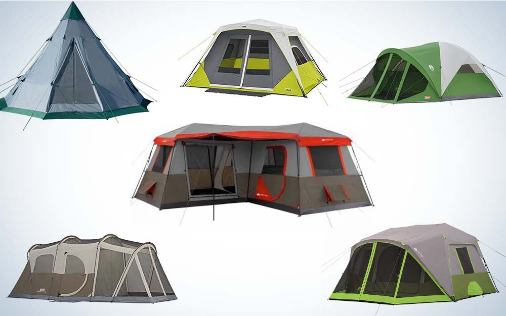 A collage of six family-sized tents