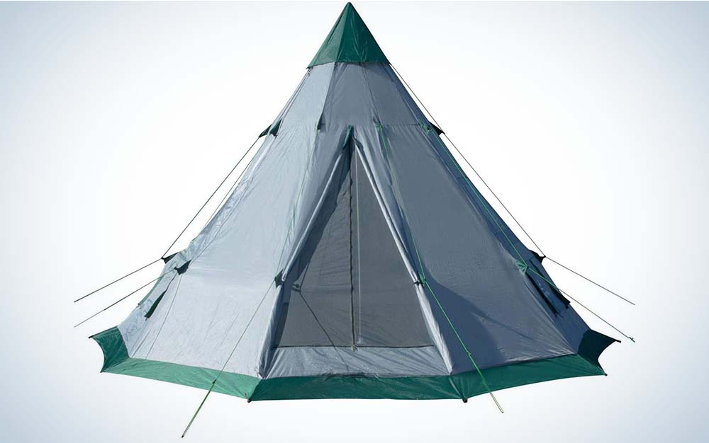 A grey teepee-style tent with green accents