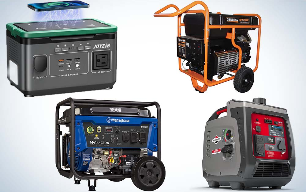A collage of four portable generators