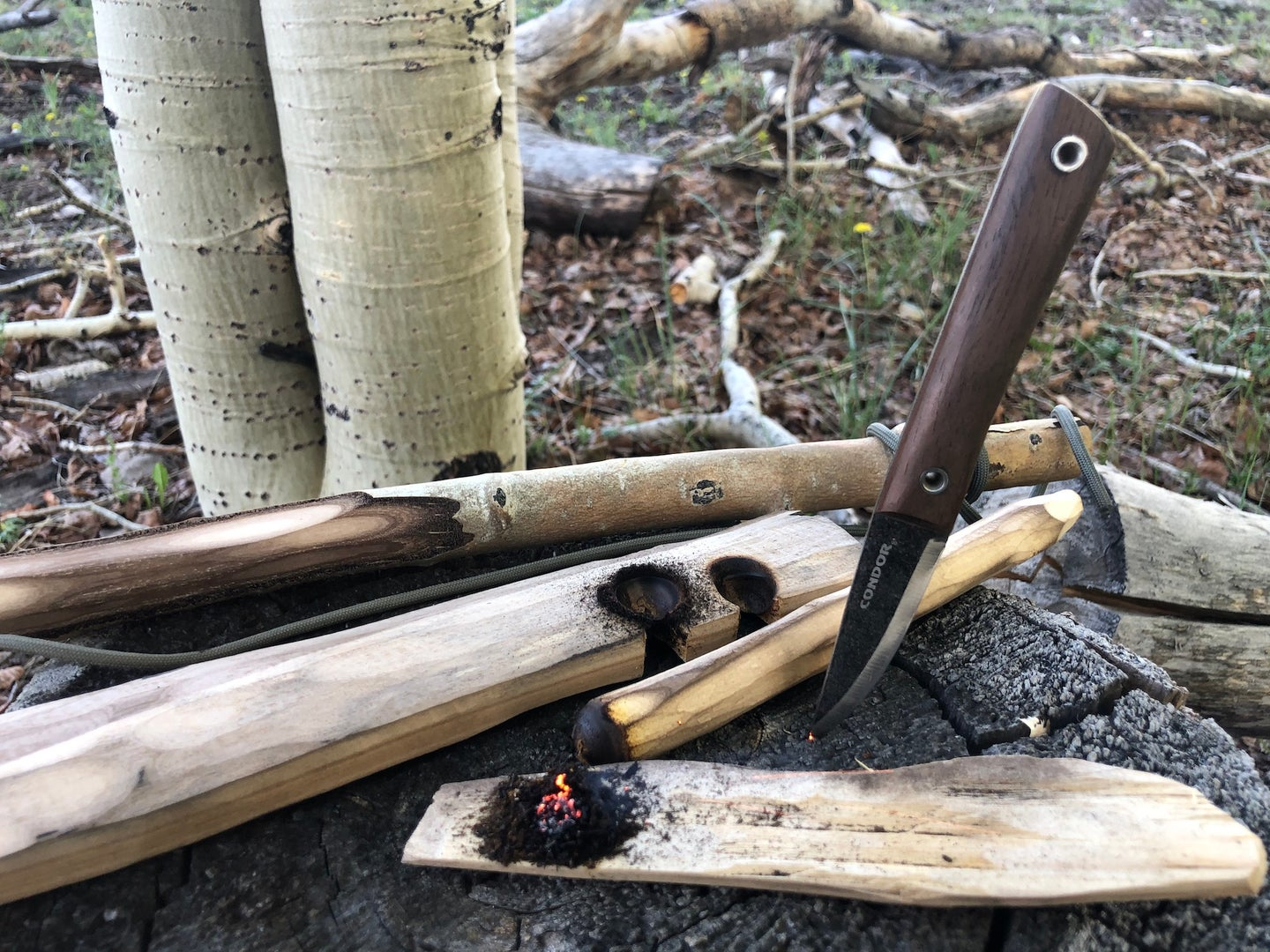 A grey knife with a wood handle stuck in a rock surrounded by pieces of light wood