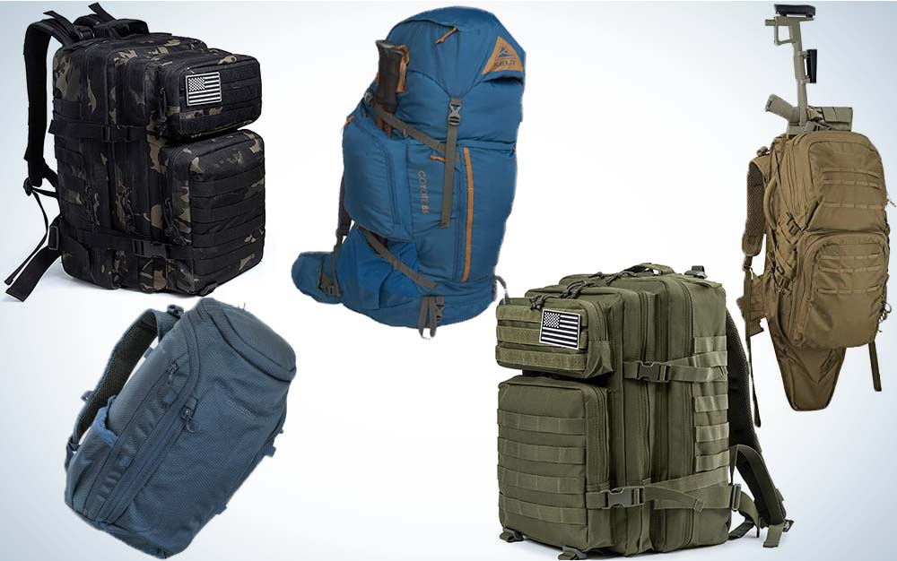 A collage for five bug out bags