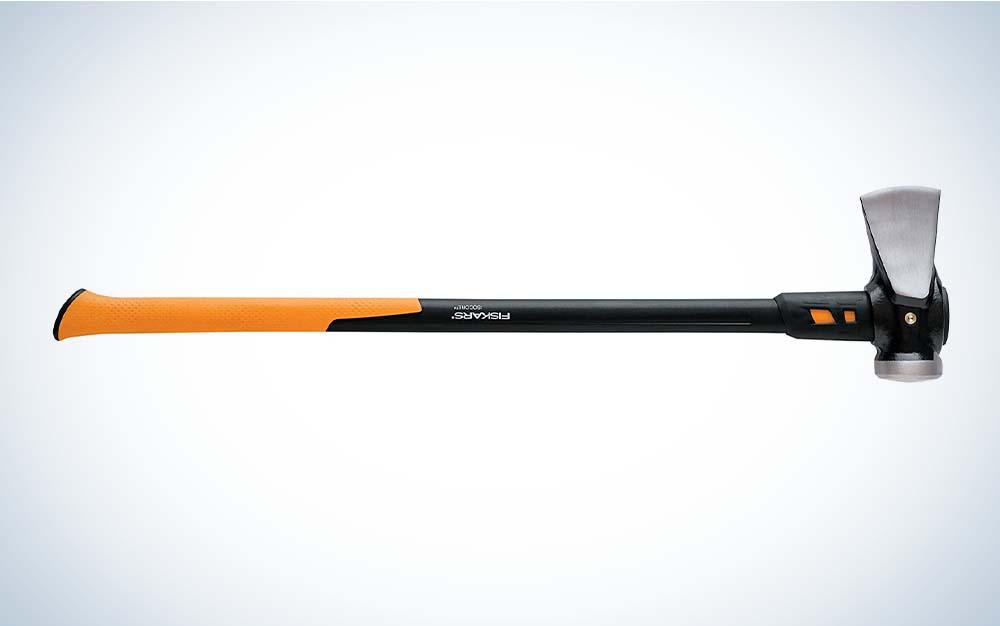 An orange and black log splitter