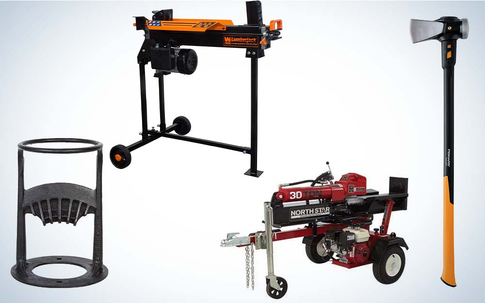 A collage of four log splitters