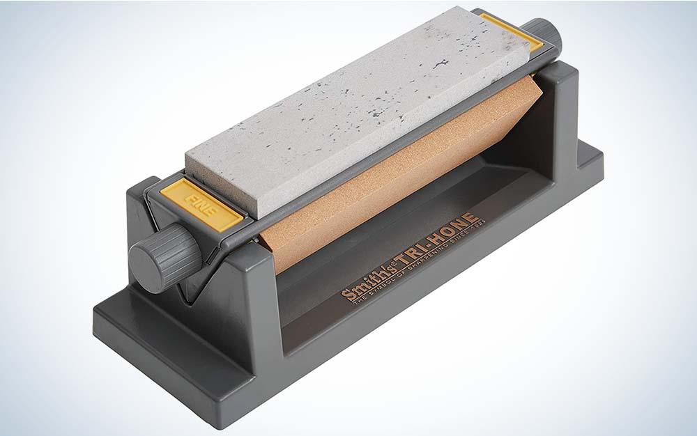 A grey stone kinfe sharpener