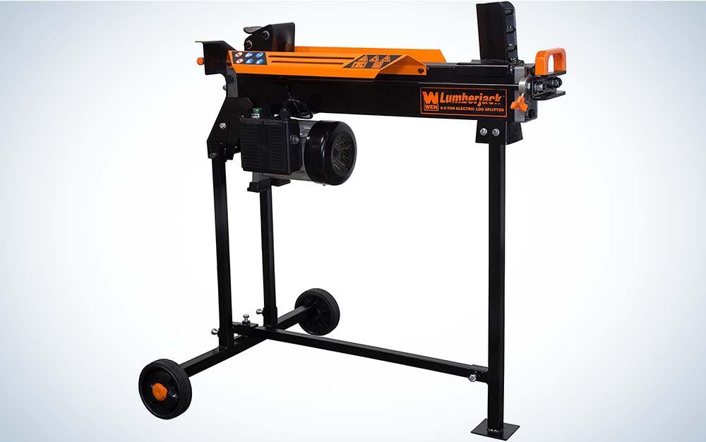 A black and orange log splitter