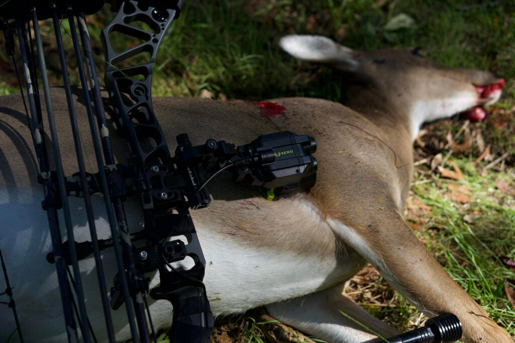 A bow with a Garmin Xero attached on top of a deer a hunter hit