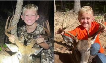 Two 7-Year-Old Twin Brothers Make 40-Yard Crossbow Shots on a Pair of Carolina Bucks