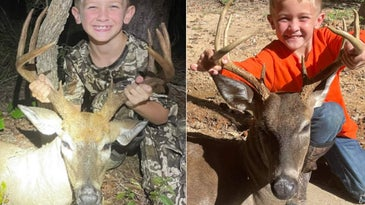 Twin boys shot a pair of Carolina bucks with their crossbows.