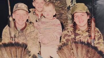 A vintage photo of a family turkey hunt.