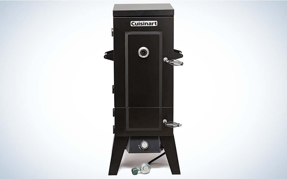 A tall, black propane smoker