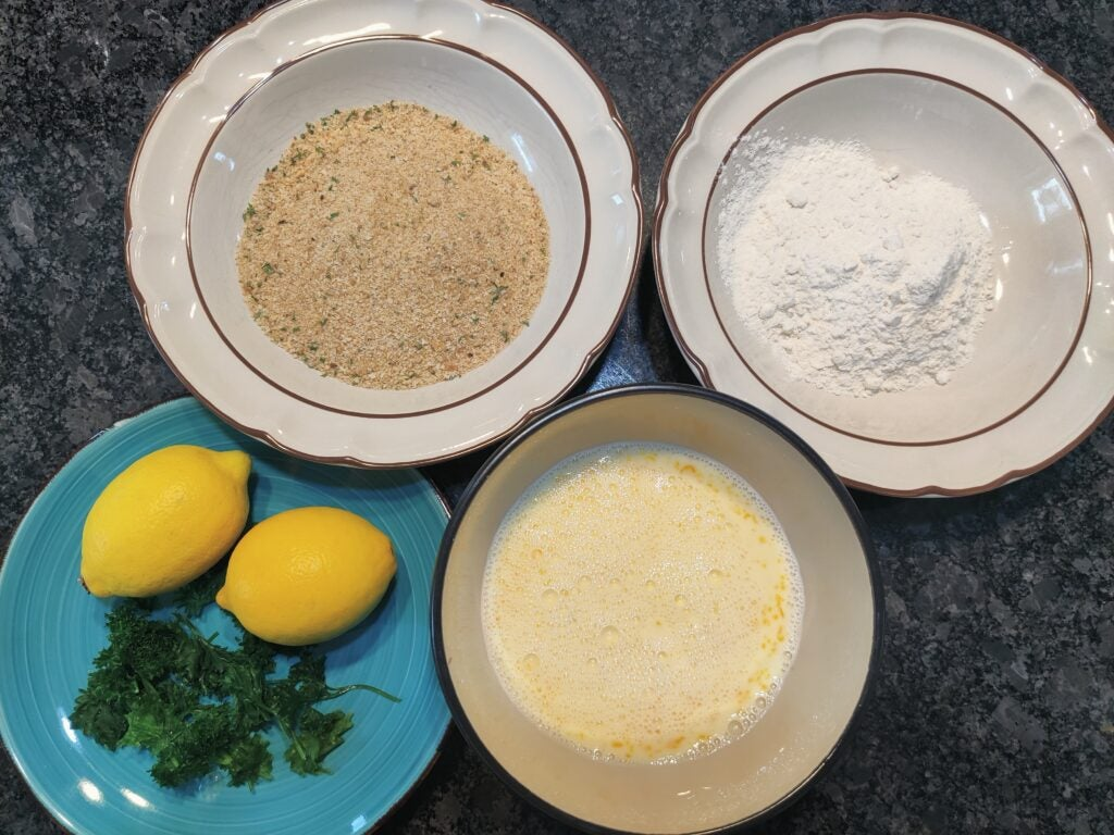 Use an assembly line of spices to make the schnitzel.