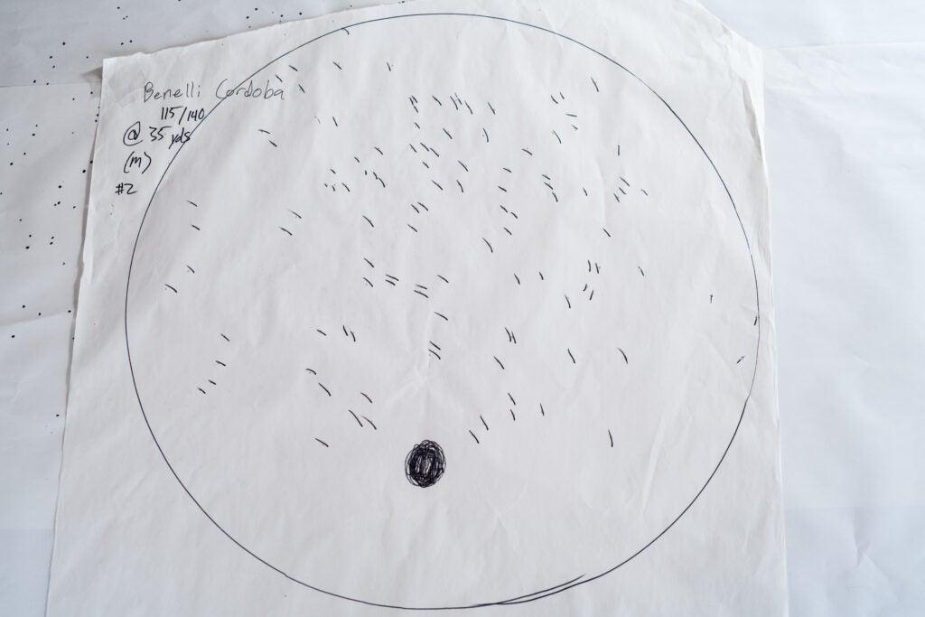 The Benelli Cordobo duck hunting shotgun pattern